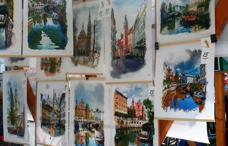 Kunst op de centrale markt in Ljubljana