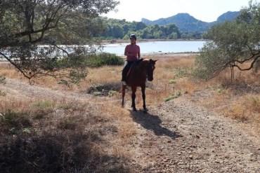 Paardrijden in het bos op Agistri in Griekenland ('gespiegeld' door Bella)