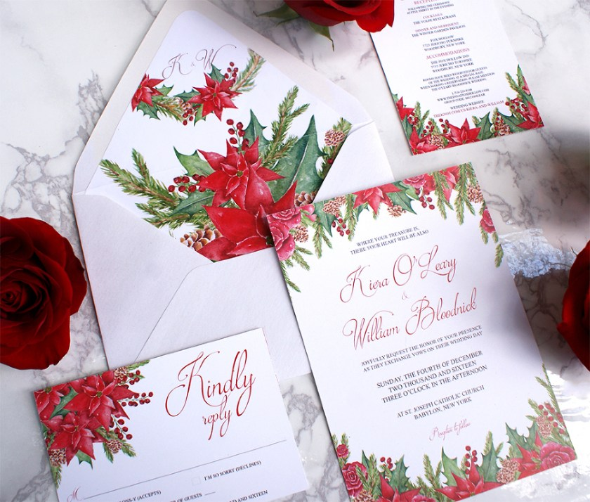 Christmas Themed Watercolor Wedding Invitations Kiera
