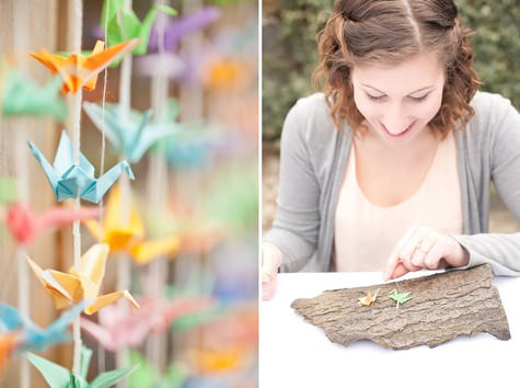 DIY paper cranes backdrop