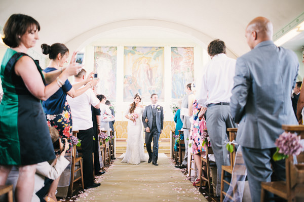 wedding ceremony at in St James church in Merton park