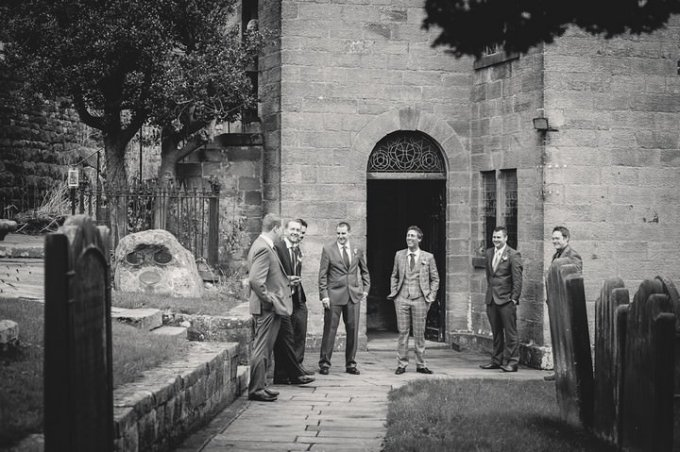 groom and groomsmen at St Thomas Church, Glaisdale