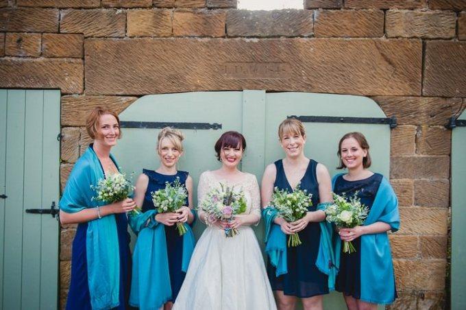 Bride in Lizzie Jayne wedding dress and bridesmaids