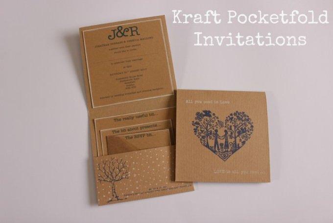 Kraft Pocketfold Invitations