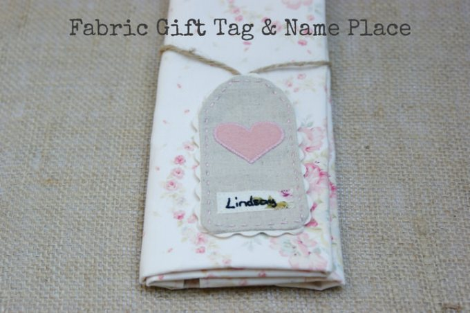 Diy Wedding Gift Tutorial : DIY Tutorial: Fabric Gift Tag and Name Place