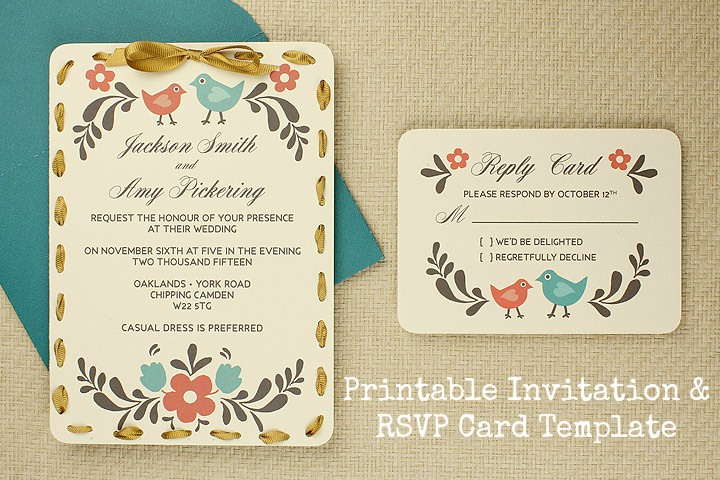 Printable Invitation And Rsvp Card Template