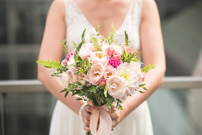 Modern London Wedding bouquet with peonys By Chris Blackledge Photography
