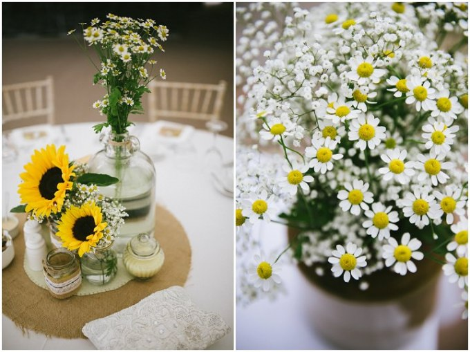 Yellow Wedding daisy with a Candy Anthony Dress