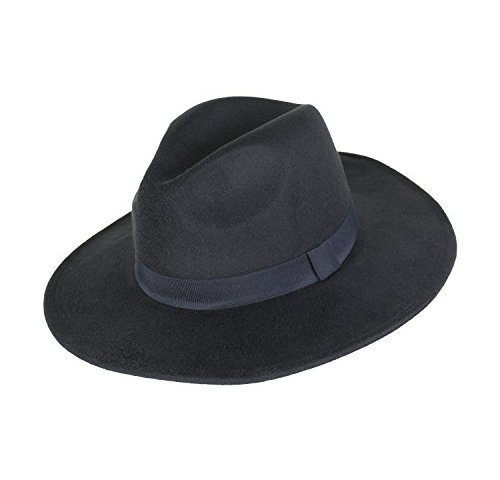 aae99d4ddaf Vegan Wool Large Brim Panama Hat For Women- Winter Boho Fedora With Ribbon  Trim