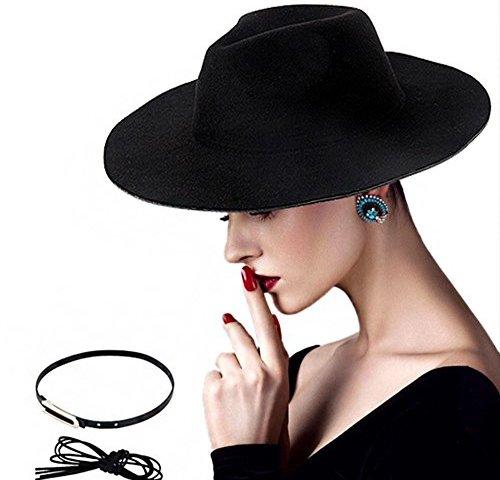 2b6af5b09db DoubleZhou Women Wide Brim Hat Black Felt Fedora Hat Elegant Luxury Wide  Panama Style Hat Cap Vintage Jazz Hat With Belt
