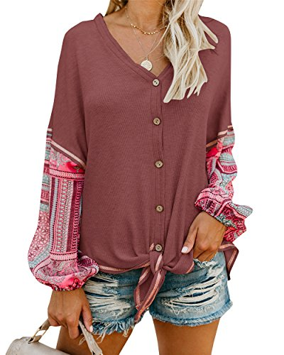 72190ad356da16 Shele Womens Boho Tie Front Button Down Shirts Thermal Henley V Neck Long  Sleeve Print Knit Tunic Blouse Tops
