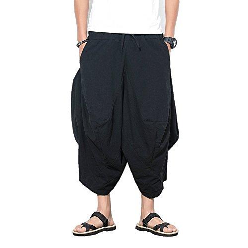 e0c4b1c4ff052 INVACHI Men s Elastic Waist Wide Leg Cotton Harem Baggy Pants Patchwork  Linen Capri Trousers Available XS-4XL