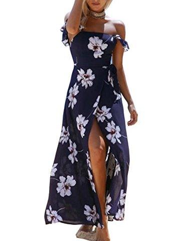 85535a1183d FFLMYUHULIU Women Summer Off The Shoulder Boho Sexy Split Maxi Beach Party  Dress