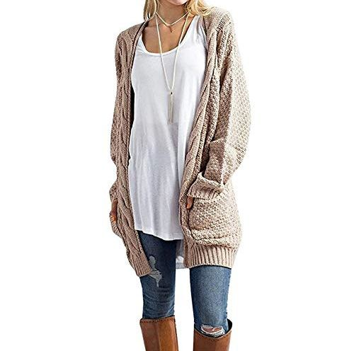 39323c5320 HZSONNE Women s Boho Long Sleeve Open Front Chunky Warm Cardigans Pointelle Pullover  Sweater Blouses · Boho Clothing Boutique December 21