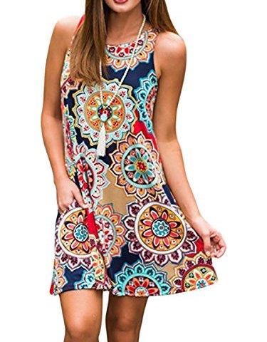 a97f3f5da6 Silvous Women s Bohemian Print Tank Dress Pockets Sleeveless T-Shirt Dress