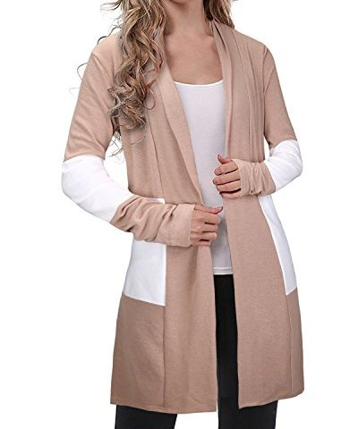 ce39a3f619 OUGES Women s Long Sleeve Open Front Knit Cardigan Sweaters