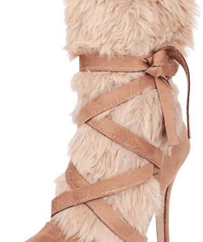 4adae2639e67 Cambridge Select Women s Pointed Toe Faux Fur Crisscross Strappy Stiletto  High Heel Boot