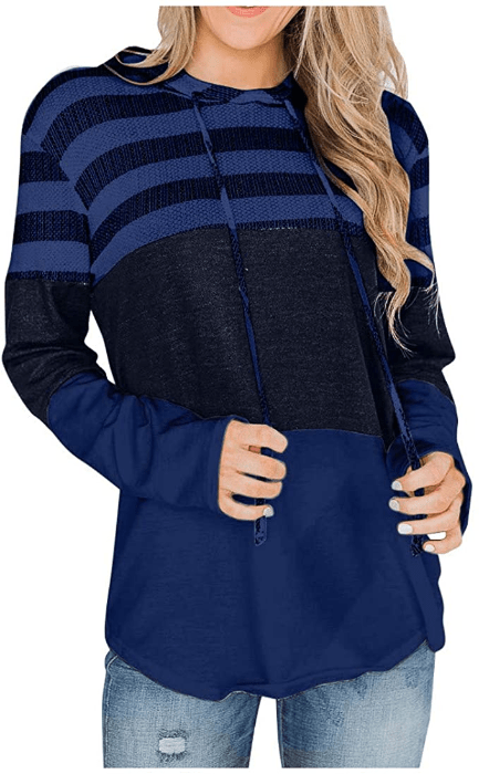 INTERESTPRINT Womens Hooded Dress with Pocket Elegance Floral Pullover Tunic Drawstring