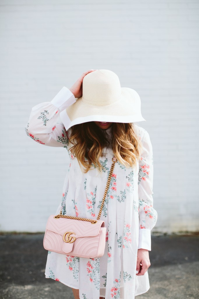 floral dress and gucci bag