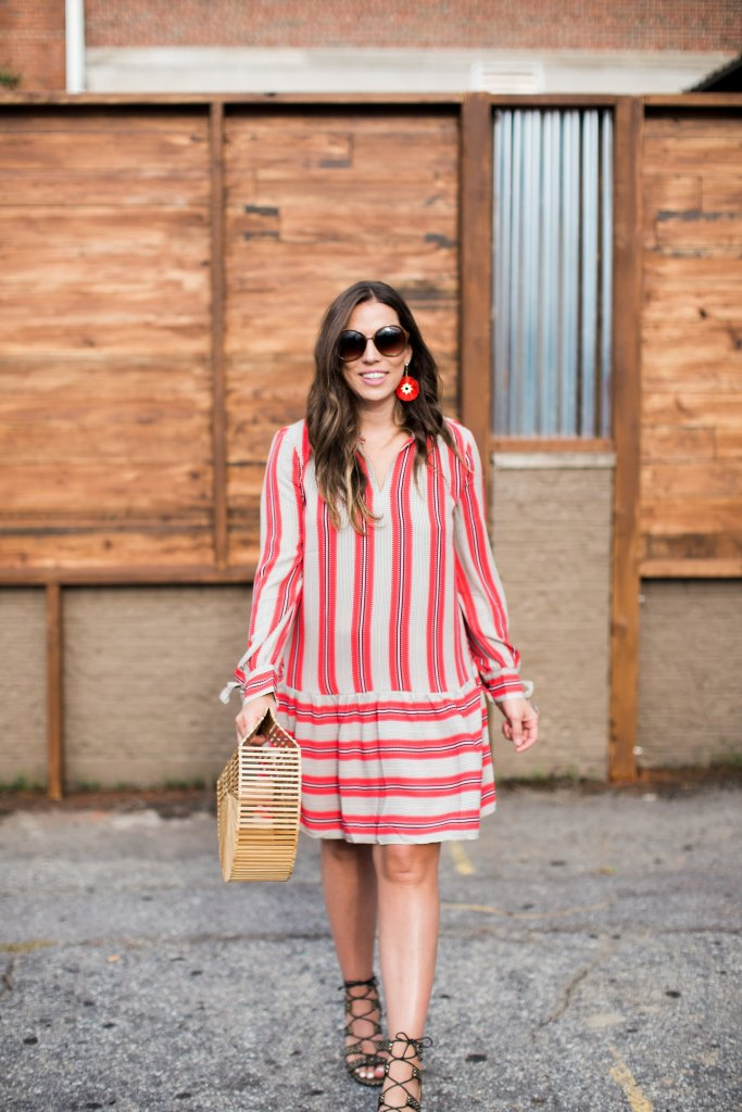 SPICED STRIPE FLOUNCE SHIRTDRESS