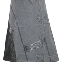 Peasant Maxi Skirt Embroidered Stonewashed Grey Rayon Skirt Boho Chic S