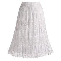 Women's Boho White Cotton Lace Maxi Peasant Skirt