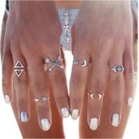 BeOne®6PCS Fashion Vintage Turkish Arrow Moon Turquoise Joint Knuckle Nail Midi Ring Set