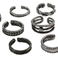 Set of 12 Unique Adjustable Toe Rings, Antiqued Alloy Boho-Style Knuckle Rings, Variety of Designs! (12 Pieces)