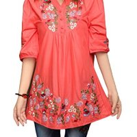 Asher Embroidered Peasant Dressy Tops 3/4 Sleeve Mexican Blouse