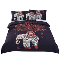 Sleepwish 4 Pcs Boho Mandala Hippie Bedding Elephant Tree Black Printed Bohemian Bedspread Duvet Cover Set Full Size