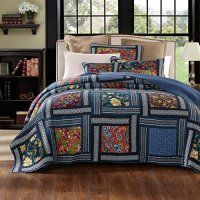 DaDa Bedding Bohemian Midnight Ocean Blue Sea Reversible Real Patchwork Quilted Bedspread Set - Dark Navy Floral Multi-Color Print - Queen - 3-Pieces