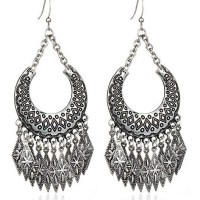 Antique Gold Silver Plated Multilayer U Shaped Carving Alloy Square Pendant Tassel Drop Earring