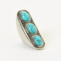 Lux Accessories Burnished Boho Turquoise Stone Trio Stretch Statement Ring