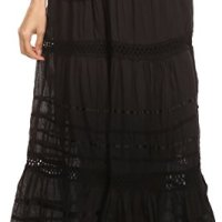 Sakkas Gia Bohemian Adjustable Lace Embroidered Wide Lined Long Ethnic Skirt