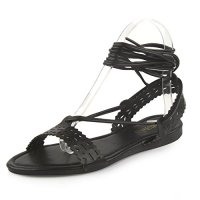 Mu Dan Women's Women's Leatherette Open Toe Strappy Slingback Cut Out Wrap Sandal