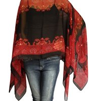 Scarf Caftan Tunic Poncho Cover-up, Paisley Print, Shawl, Black & Red Color