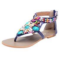 Odema Summer Bohemian Beaded Flat Womens Beach Thong Sandals