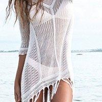 KingsCat Stylish Crochet Tassel Beachwear Bikini Swimsuit Cover up