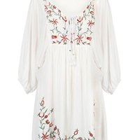 Joeoy Women's V Neck Floral Embroidered 3/4 Sleeve Peasant Boho Dress