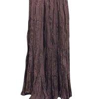 Boho Renaissance Crinkle Dark Brown Hippie Long Skirts