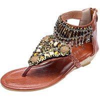 Odema Summer Bohemian Multilayer Beaded Flat Womens Beach Thong Sandals Wedge
