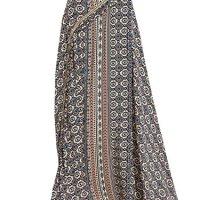 Milumia Women's Boho Vintage Print Wrap Skirt A Line Maxi Skirt