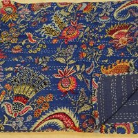 """Tribal Asian Textiles 90""""x108"""" Indian Ethnic Floral Queen Size Quilts Hippie Decorative Ralli Boho Throw Blanket Bedding Kantha Work Bed Cover Quilts"""