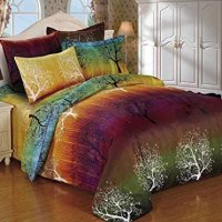 Rainbow Tree 3pc Duvet Cover Set: Duvet Cover and Two Matching Pillowcases (Queen)