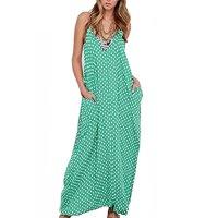 Romacci Women Casual Polka Dot Print Spaghetti Strap Boho Long Maxi Dresses