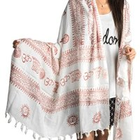 Large Om Scarf Wrap Yoga 100% Soft Cotton Hand Printed Boho Bohemian (White