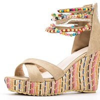 AvaCostume Women's Boho Bohenmian Ankel Strappy Beaded Wedge High Heel Pumps Sandals Shoes