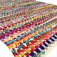 EYES OF INDIA - 4 X 6 Ft White Decorative Colorful Woven Chindi Rug Rag Bohemian Boho Indian