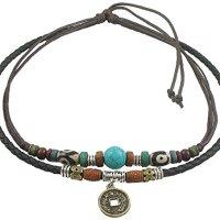 Ancient Tribe Unisex Adjustable Hemp Black Leather Choker Necklace Turquoise Bead