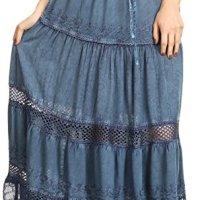 Sakkas Salina Boho Maxi Skirt with Embroidery and Crochet Lace Adjustable Waist